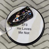 He Loves Me Not ZF3 Black Base with copper, yellow, pink, lavender, teal, turquoise, gold, rose gold, hot pink & pink foils ***