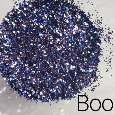 Cosmetic Metallic & Iridescent Loose Glitter Sales: BOO purple & blue mix .008, .015 & .040