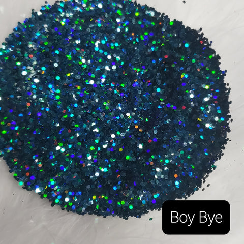 Holographic Cosmetic Loose Glitter Sales: BOY BYE .040 chunky custom mix blue/green