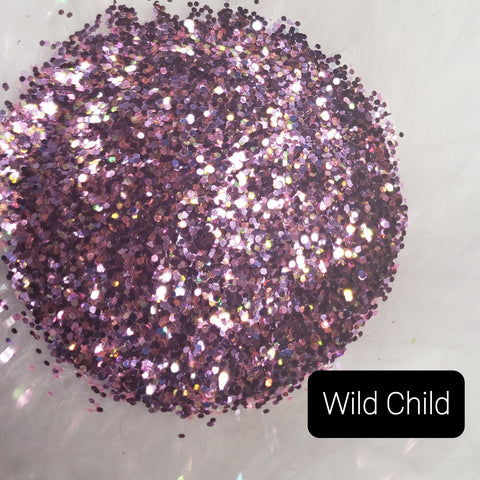 Cosmetic Metallic & Iridescent Loose Glitter Sales: Wild Child mix .008 ultra fine & .040 chunky purple