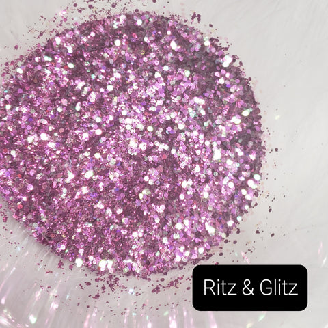 Cosmetic Metallic & Iridescent Loose Glitter Sales: Ritz & Glitz mix .008 ultra fine & .040 chunky purple