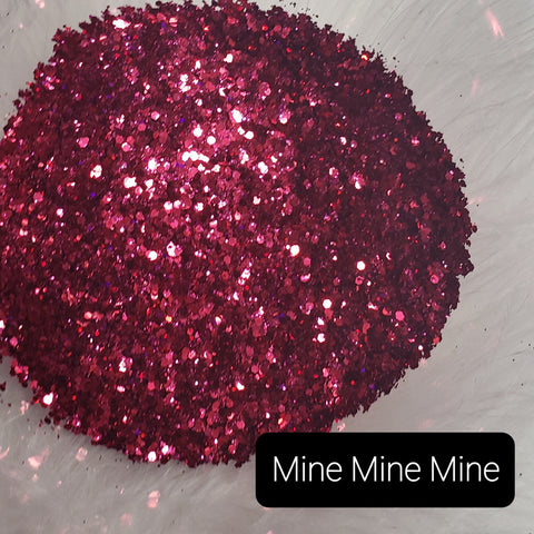 Cosmetic Metallic & Iridescent Loose Glitter Sales: MINE, MINE, MINE  mix .008, .015 & .040 reddish/pink