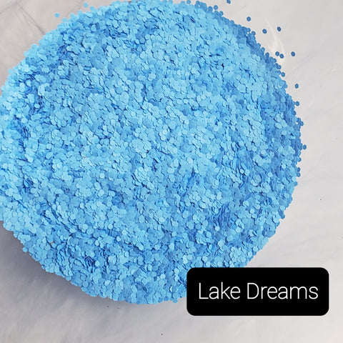 Fluorescent Neon Matte Loose Glitter Sales: LAKE DREAMS .040 chunky light blue