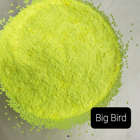 Fluorescent Neon Matte Loose Glitter Sales: BIG BIRD .040 chunky yellow