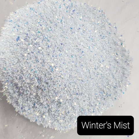 Cosmetic Opaque Iridescent Loose Glitter Sales: WINTER'S MIST random cuts opaque mix white/blue