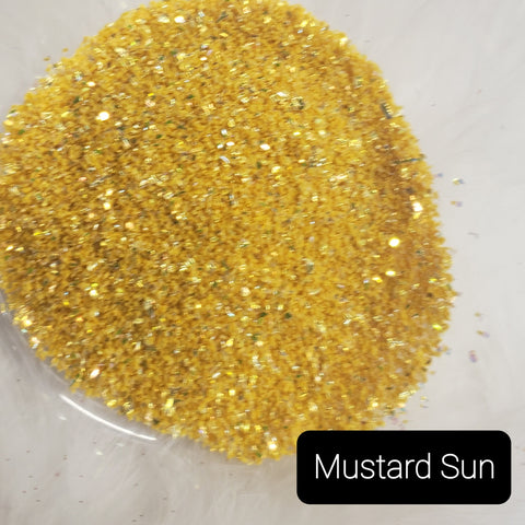 Cosmetic Opaque Iridescent Loose Glitter Sales: MUSTARD SUN random cuts opaque mix yellow/gold