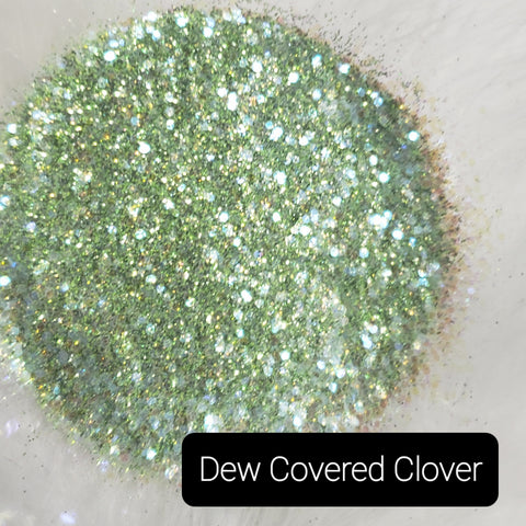 Cosmetic Metallic & Iridescent Loose Glitter Sales: DEW COVERED CLOVER mix .008, .015 & .040 green