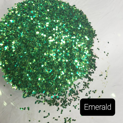 Cosmetic Mixed Iridescent & Metallic Loose Glitter Sales: EMERALD mix .008 green