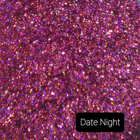 Cosmetic Holographic Loose Glitter Sales: DATE NIGHT .015 fine custom mix purple/pink