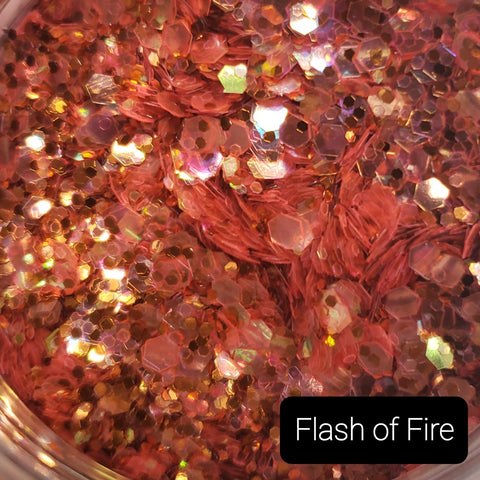 Cosmetic Metallic & Iridescent Loose Glitter Sales: FLASH OF FIRE fire orange mix .008, .015 & .040