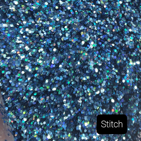 Holographic Cosmetic Loose Glitter Sales: STITCH .040 chunky blue custom mix