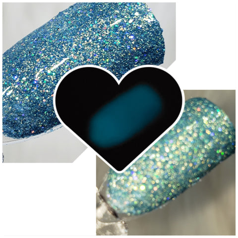 Electric Eel DP705 dark teal ir with baby blue glitter that glows blue *** - Zebra Glitter & Nails Company, LLC