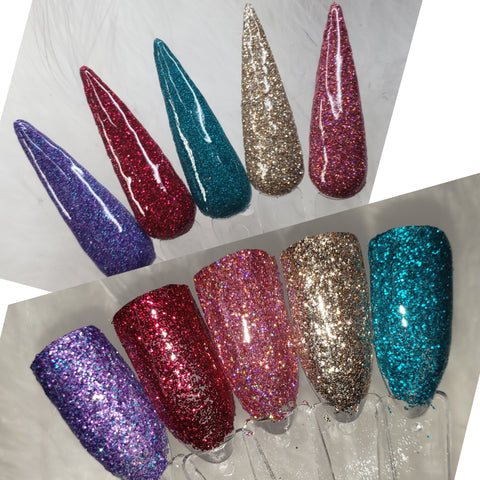 Mommy & Me Glitter Set 1: 5 .25 dips & 5 .15 bottles of nail polish & individual products***