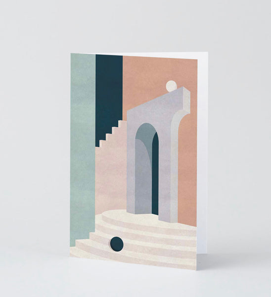 Pastel doorway + stairs card - large