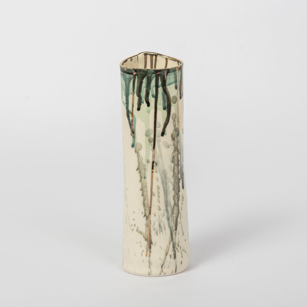 GREEN GOLD SPLASH VASE