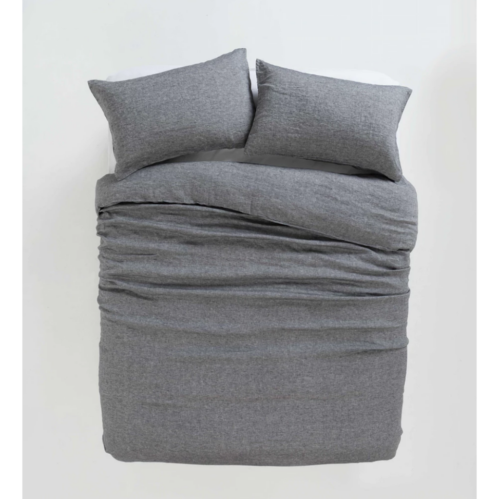 Sove Chambray Linen Duvet Cover - Charcoal
