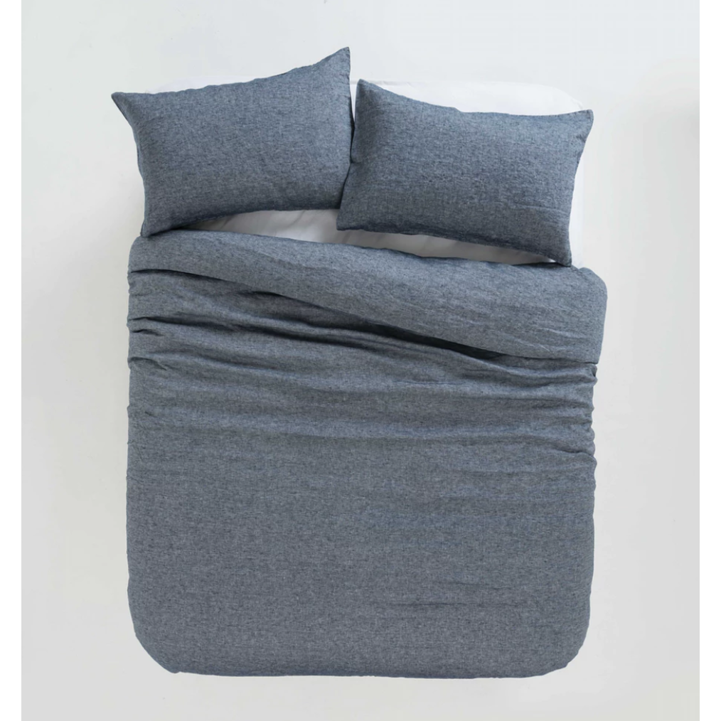 Sove Chambray Linen Duvet Cover - Navy