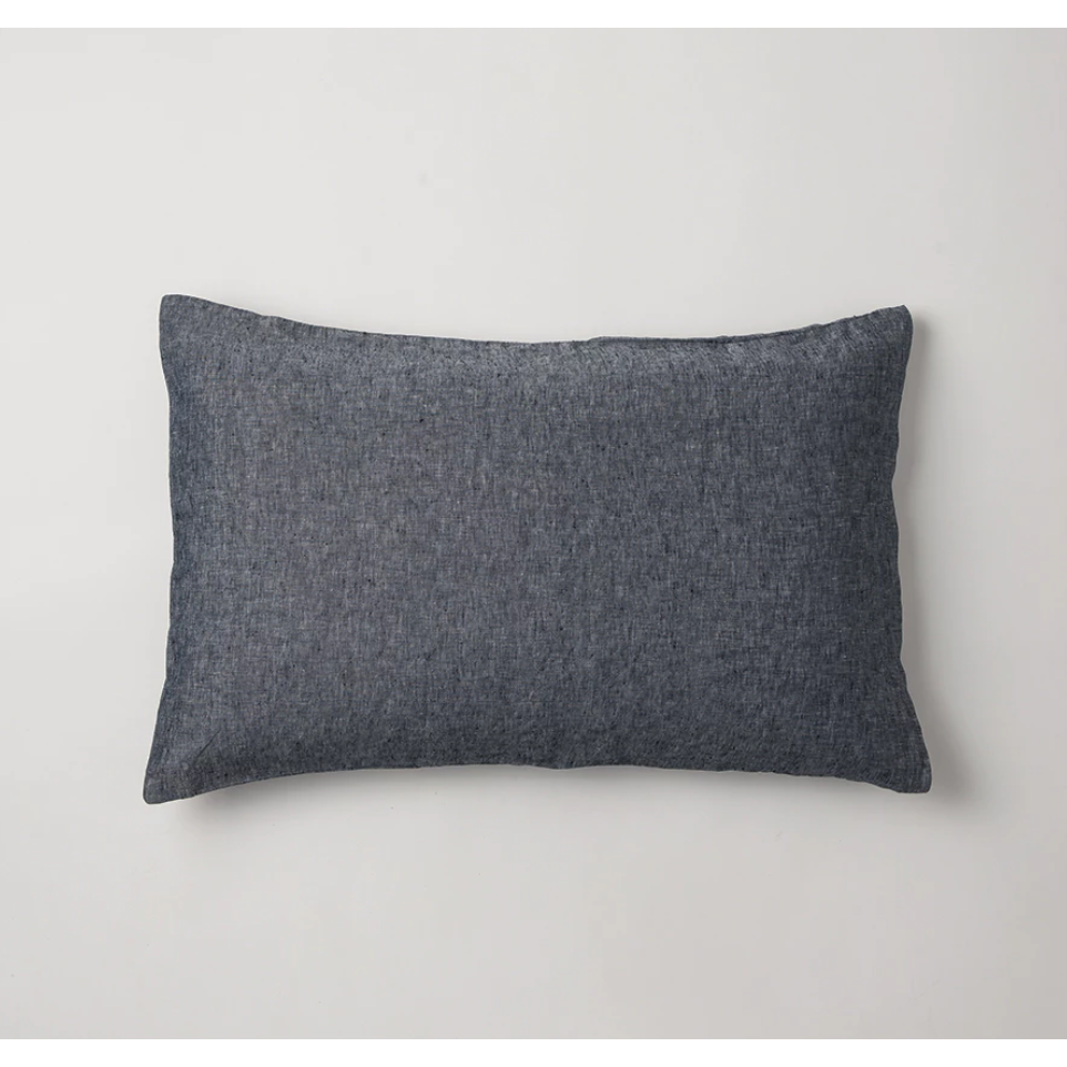 Sove Chambray Linen Pillowcase Pair - Navy
