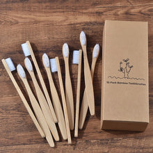 Load image into Gallery viewer, 10 pieces Eco Friendly Bamboo Toothbrush With Soft bristle Charcoal Tip