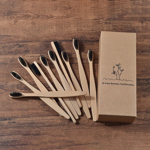 10 pieces Eco Friendly Bamboo Toothbrush With Soft bristle Charcoal Tip