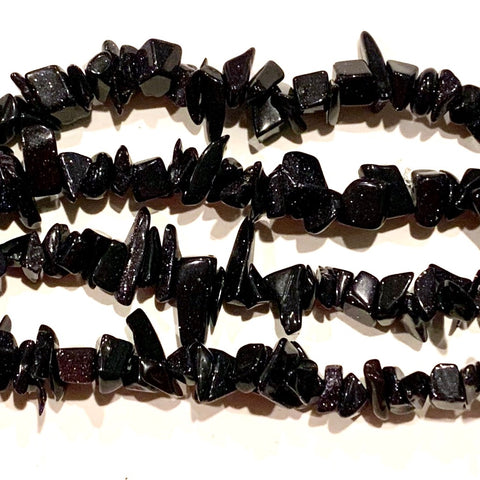 Blue Goldstone Chip Beads