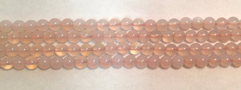 6mm Pink Chalceldony Beads