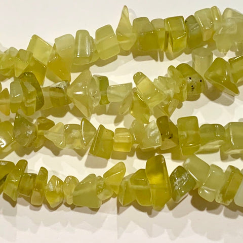 Olive Serpentine Chip Beads