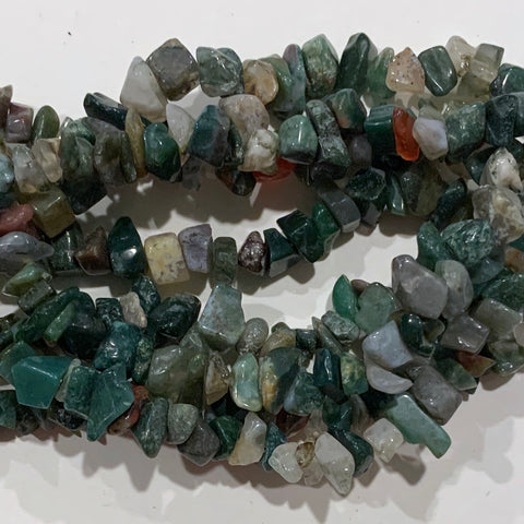 Green Moss Agate Chip Beads