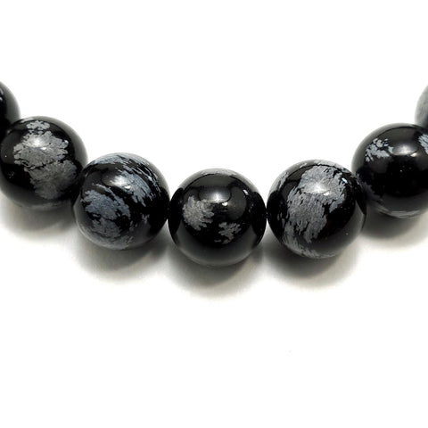 10mm Snowflake Obsidian Beads