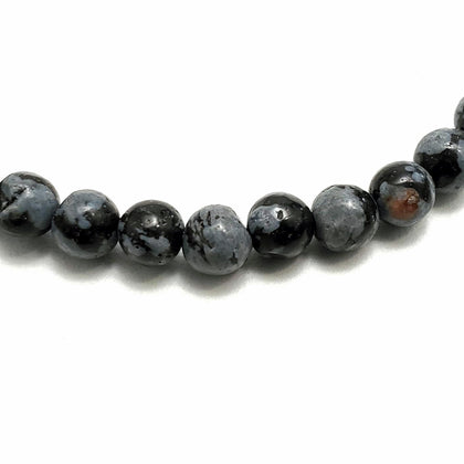 4mm Snowflake Obsidian Beads