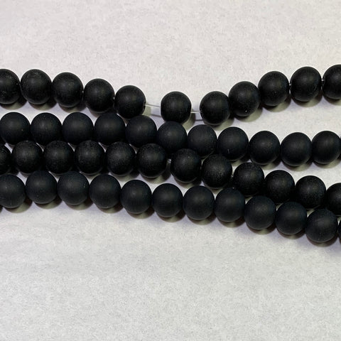 8mm Matte Black Agate Beads