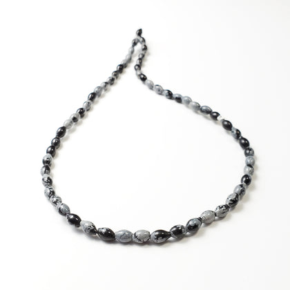 4x6mm Snowflake Obsidian Beads