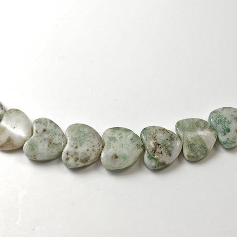 8mm Green Tree Agate Heart Beads