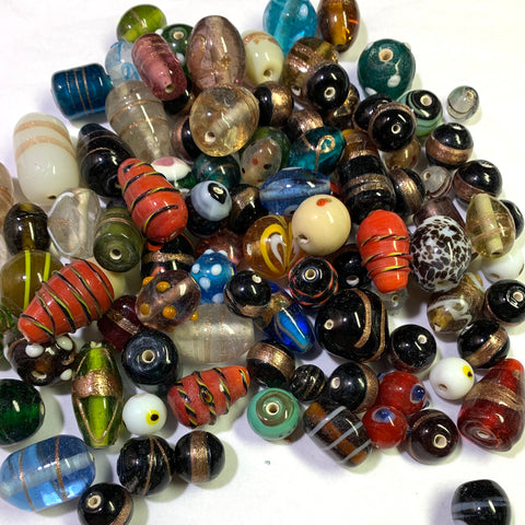 Fancy Glass Beads Mix, 0.75 LB
