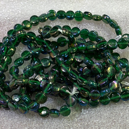9mm Flat Round Glass Beads, 4 strands