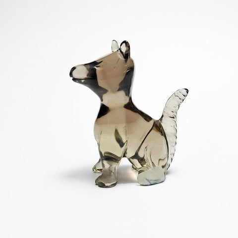 40mm Smokey Quartz Dog Carving