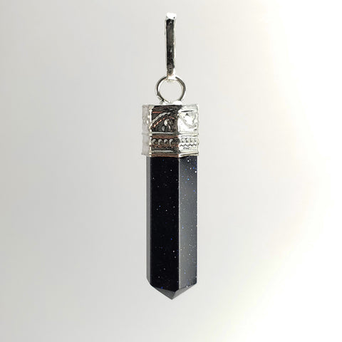 Blue Goldstone Point Pendant