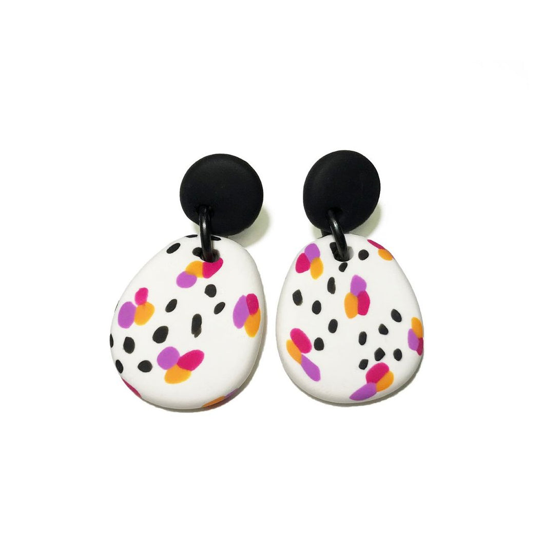 Dangle Janes - Spots & Dots - Black + White, Pink, Purple & Orange Spot. (Made to order)