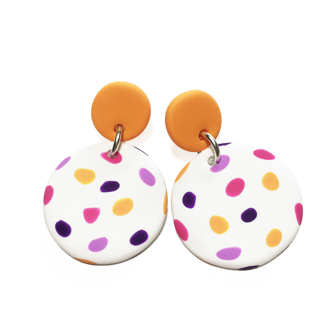 Dangle Janes - Orange + White with Pink, Purple & Orange Spot.