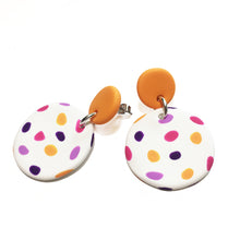 Load image into Gallery viewer, Dangle Janes - Orange + White with Pink, Purple & Orange Spot.