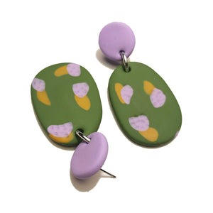 Dangle Janes - Olive Green, Lilac & Mustard.