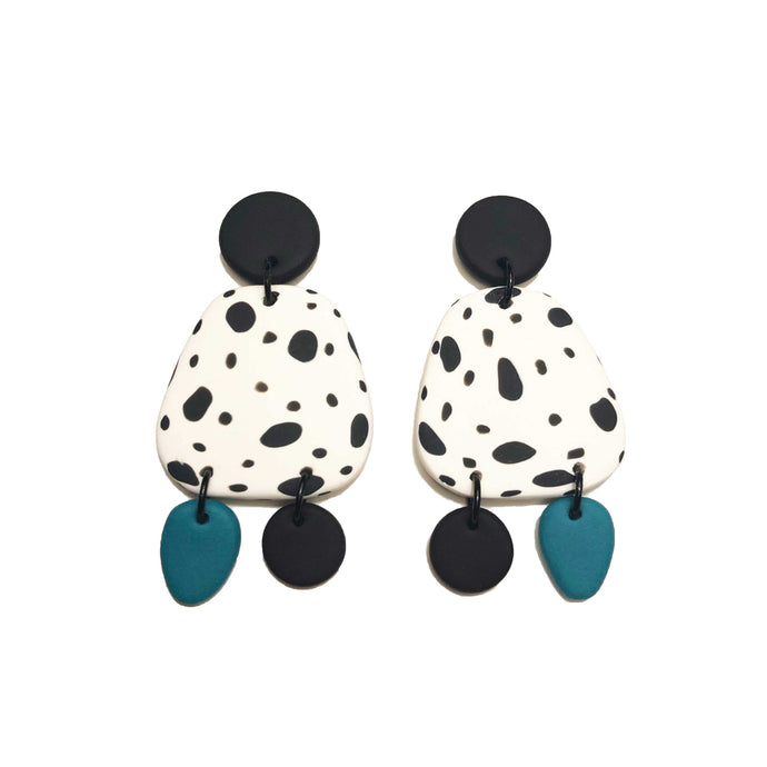 Dangle Janes - Shapes - Black, White & Teal (Made to order)