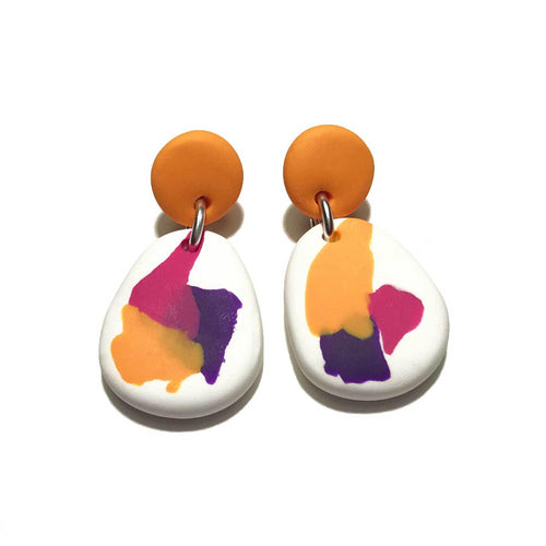 Dangle Janes - Smudge Edit - Orange + Pink, White & Purple. (Made to order)