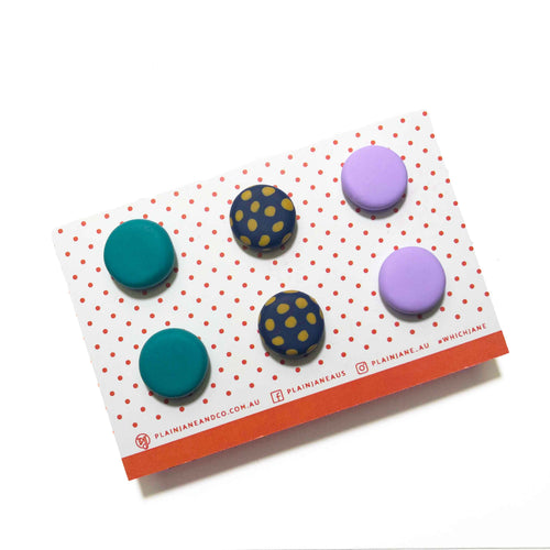 Plain Jane Stud Packs - Teal, Mustard + Navy Spot & Lilac