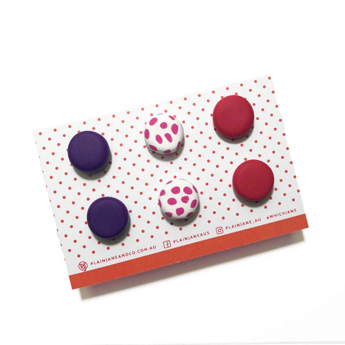 Plain Jane Stud Packs - Dark Purple, Pink Spot & Red