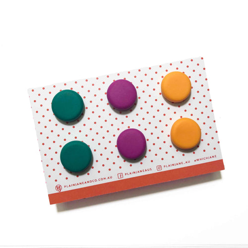 Plain Jane Stud Packs - Emerald Green, Ultraviolet Purple & Orange