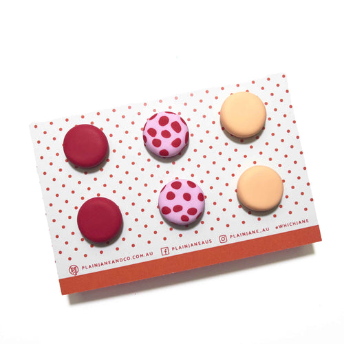 Plain Jane Stud Packs - Red, Pink + Red Spot & Peach