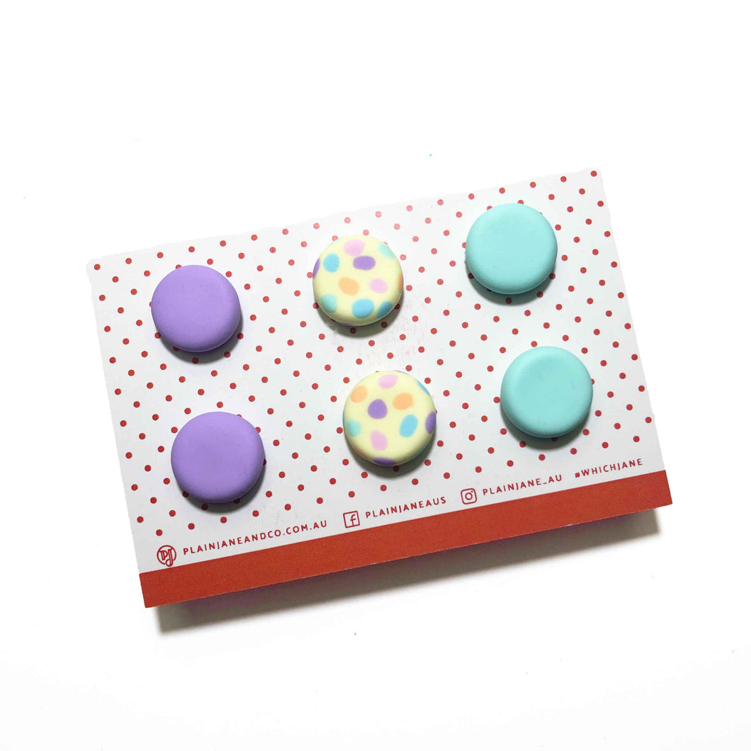 Plain Jane Stud Packs - Lilac, Lemon + Pastel Rainbow Spot & Mint