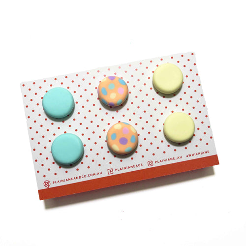 Plain Jane Stud Packs - Mint, Peach + Pastel Rainbow Spot & Lemon