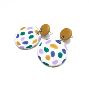 Dangle Janes - Mustard + White, Green, Lavender & Lilac Spot. (Made to order).